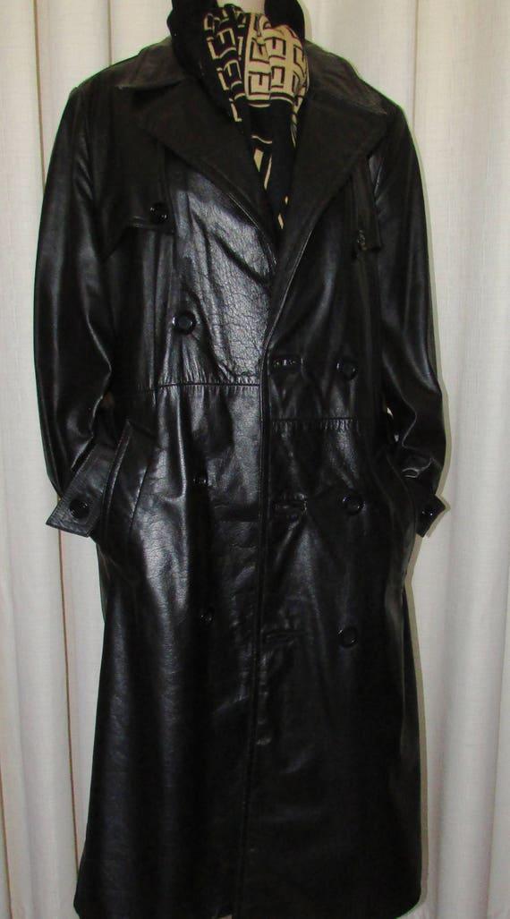 2d1a89b08251 Vintage manteau long de cuir noir pour homme Vintage long