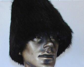"""Chapeau de fourrure de castor noir pour homme/Black men beaver fur hat   23""""1/2"""
