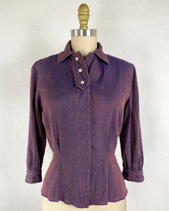 40's Purple Mauve Linen Vintage Blouse Top Women's
