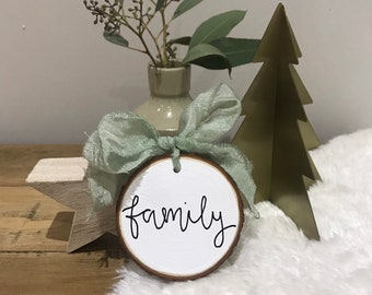 Happy Mother\u2019s Day Wood slice decoration with silk ribbon reference no.15 hand made modern calligraphy