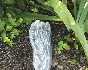 14 x 6 Inch hand Painted Concrete Angel Statue, Garden Stone, Wall Hanging