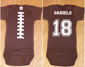 FOOTBALL onesie, gerber onesie, superbowl onesie, baby football onesie, football season onesie