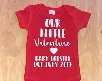 828acb65ac6fc our little valentine onesie, gerber onesie, pregnancy announcement,  valentines day baby onesie, valentine baby announcement, due date onsie