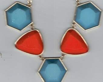 Vintage Turquoise and Coral Colored Necklace