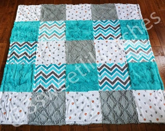 Dragon PATCHWORK Double Minky Blanket, PERSONALIZED Custom EMBROIDERY, Turquoise Green Gray Chevron Lattice, Multiple Sizes, Gift Birthday