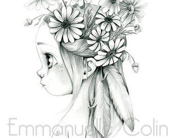 "Wild reproduction A4 ""Marguerite - Leucanthemum vulgare"""