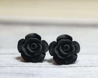 Black Rose Earrings, Cottage Chic Vintage Style, Black Boho Chic Studs Plant Lovers Garden Gifts, Classic Black, Gothic Rose