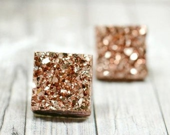 Shiny Rose Gold Druzy Stud Earrings, 12mm Square Druzy Earrings Metallic Glitter Faux Drusy Posts Glittering Bronze Stainless Steel Studs