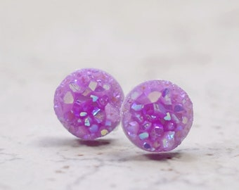 4 Lilac resin druzy antique silver tone charms M838