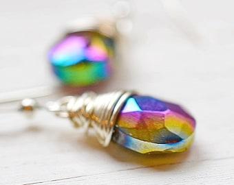 Mystic Purple Rainbow Earrings, Peacock Boho Jewelry, Wire Wrapped Purple and Green Dangles, Bohemian Chic