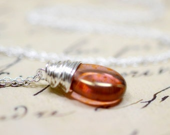 Rose Gold and Sterling Silver Wire Wrap Necklace, Coral Gold Briolette Copper Rose, Dusky Pink Dark Peach Jewelry, Simple Minimalist Jewelry