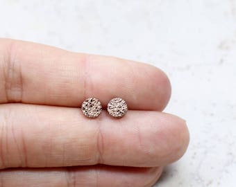Tiny Rose Gold Druzy Earrings 6mm, Tiniest Round Druzy Studs, Bronze Metallic Glitter Faux Drusy Posts Glittering Gold, Stainless Steel