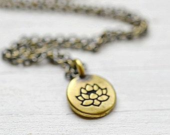 Antiqued Brass Lotus Necklace, Meditation Yoga Drishti Pendant, Lotus Flower Spiritual Jewelry