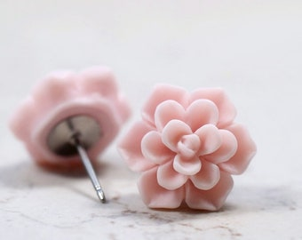 Soft Pink Succulent Earrings, Botanical Jewelry, Pastel Pink Echeveria Plant Lovers Garden Gift Ideas, Succulent Obsession, Succy Love