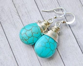 Bright Blue Faux Turquoise Earrings, Silver Wire Wrap Teardrop Earrings, Blue Stone Briolette Jewelry