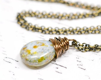 Sage Green and Aqua Necklace, Simple Antiqued Brass Wire Wrap Pendant, Mint Green and Pale Sky Blue, Handmade Jewelry