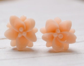 Blush Lotus Earrings, Pale Peach Lotus Flower Studs, Yoga Jewelry, Tropical Apricot Pale Coral Lotus + Bliss