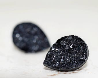 Black Teardrop Druzy Earrings, 14mm Metallic Glitter Jet Black, Faux Drusy Glittering Stainless Steel Studs