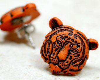 Tiger Earrings, Rust Orange and Black Tiger Head Studs, Big Cats Animal Jewelry