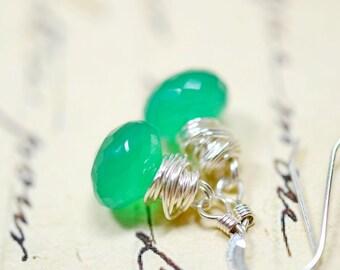 Tiny Green Onyx Earrings, Emerald Green Gemstone Sterling Silver Wire Wrap Jewelry, Dainty Drops Green Stone Dangles