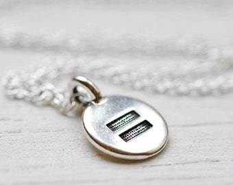 Sterling Silver Equal Sign Necklace, Pride Equality Now Equal Rights Jewelry