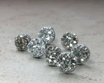 Set of 7 Bridesmaid Gifts, 7 Pairs Silver Faux Druzy Earrings, Small 8mm Round Studs, Sparkly Silver Wedding Jewelry