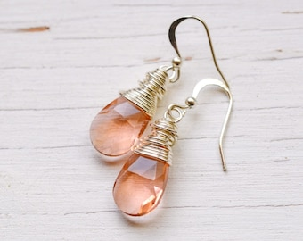 Peach Crystal Earrings, Boho Chic Jewelry, Wire Wrapped Pear Briolettes Light Coral Bohemian Festival Earrings, Lotus + Bliss