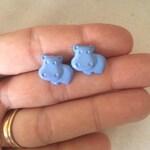 Blue Hippo Earrings, Cute Hippopotamus Jewelry, Adorable Animals, Hungry Hippos, Vegan Jewelry
