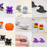 Halloween Earrings, Your Choice Spiders Witch Hats Gravestones Pumpkins Ghosts Black Orange Purple, Assorted Halloween Holiday Jewelry