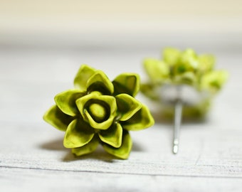 Avocado Green Succulent Earrings, Watercolor Succulent, Water Color Shades of Green Echeveria, Plant Lovers Succ Obsession, Succy Love