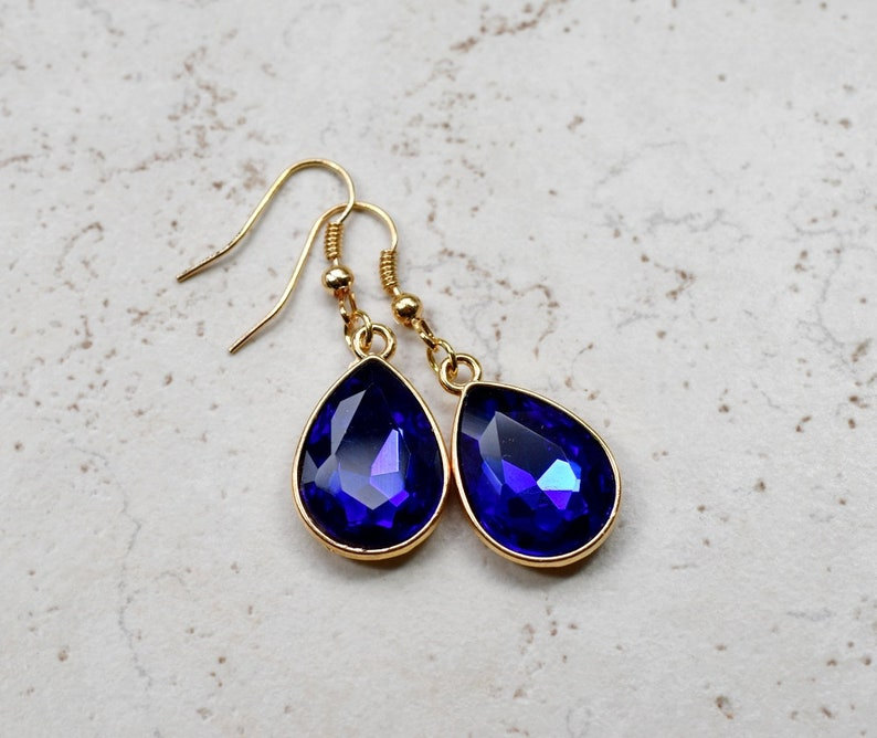 Cobalt Blue Crystal Earrings Sapphire Blue Rhinestone image 0