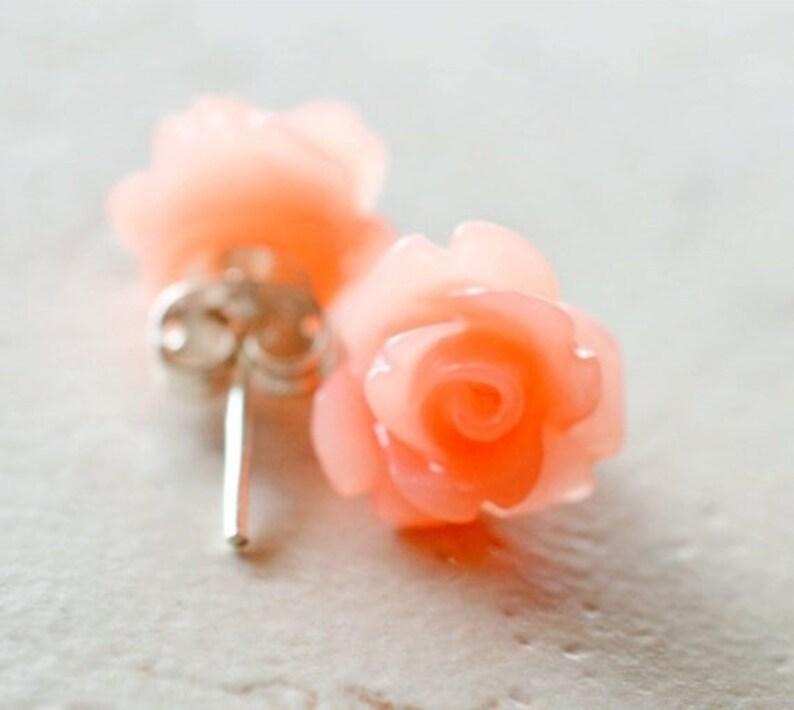 Coral Rose Earrings Simple Flower Earrings Dark Peach Flower image 0