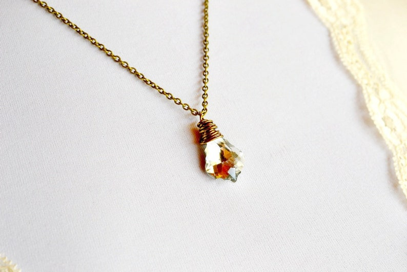 Metallic Crystal Necklace Silver Swarovski Crystal Necklace image 0