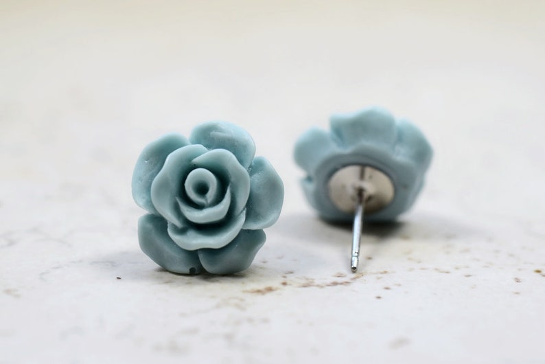 Mint Blue Rose Earrings Cottage Chic Vintage Style Icy Pale image 0