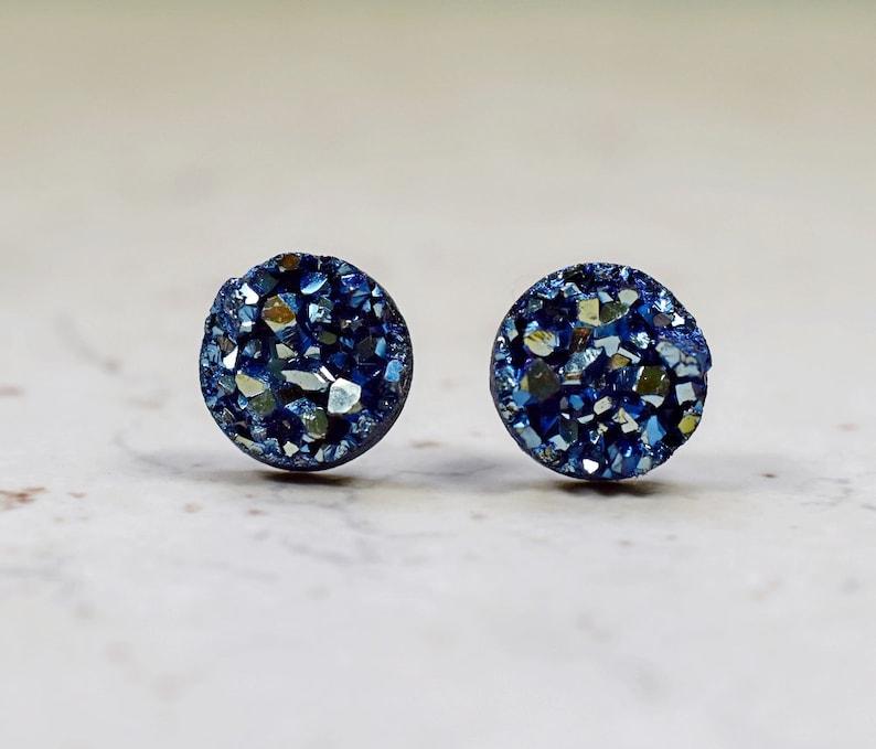 Navy Blue Bridesmaids Earrings Metallic Denim Blue Glittering image 0