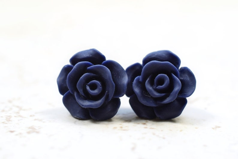 Midnight Blue Rose Bridesmaids Earrings Cottage Chic Roses image 0