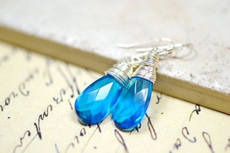Capri Blue Earrings Ocean Blue Glass Earrings Blue Crystal image 0