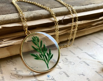 Natural Fern Necklace, Tiny Preserved Fern in Resin, Green Necklace, Botanical Jewelry, Dried Greenery