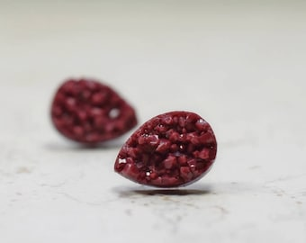 Burgundy Teardrop Druzy Earrings, Wine Earrings, Bordeaux Chunky Tear Drop Posts, Stainless Steel Studs