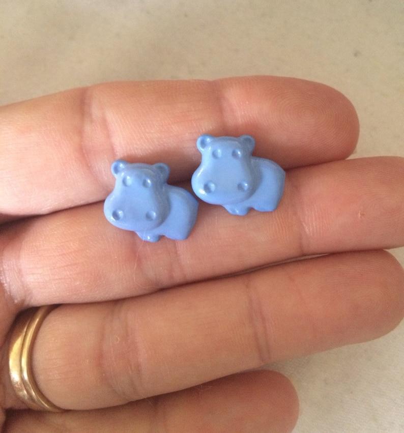 Blue Hippo Earrings Cute Hippopotamus Jewelry Adorable image 0