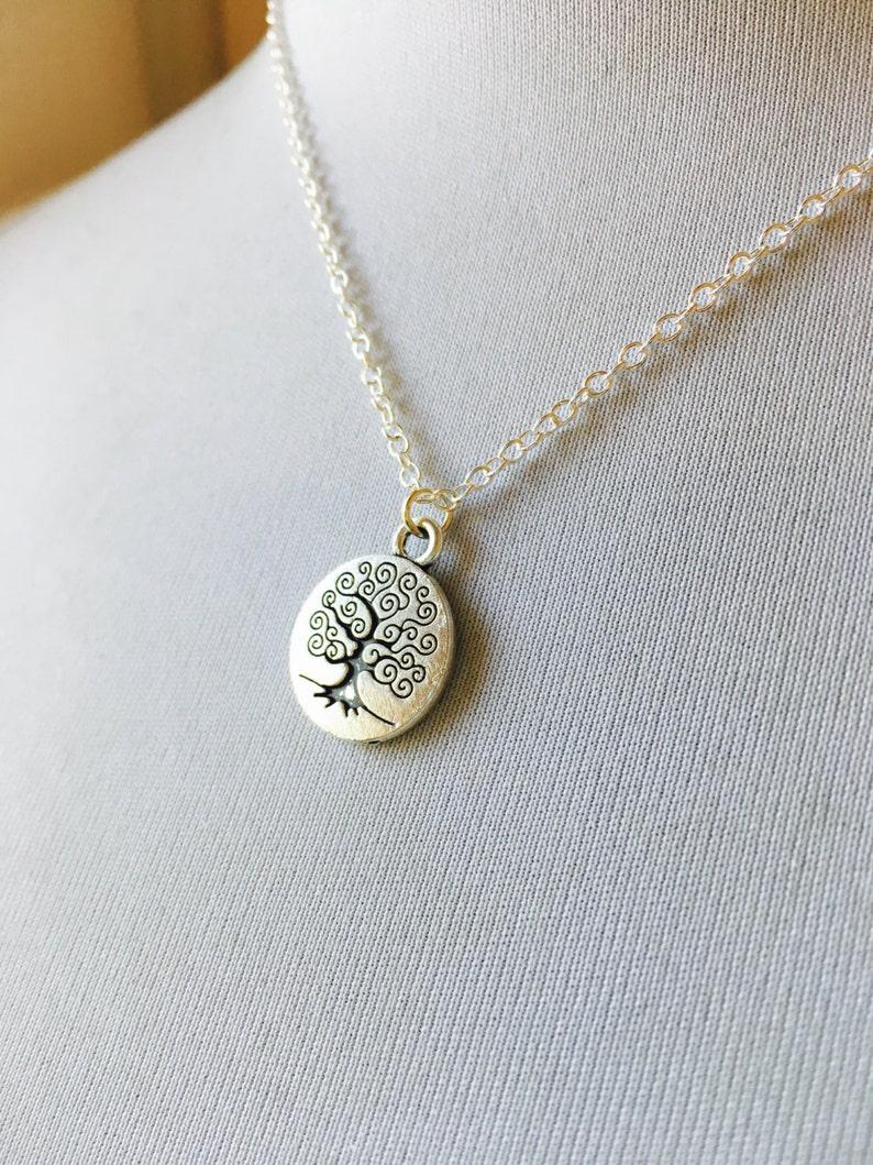 Silver Tree Necklace Meditation Pendant Yoga Jewelry image 0