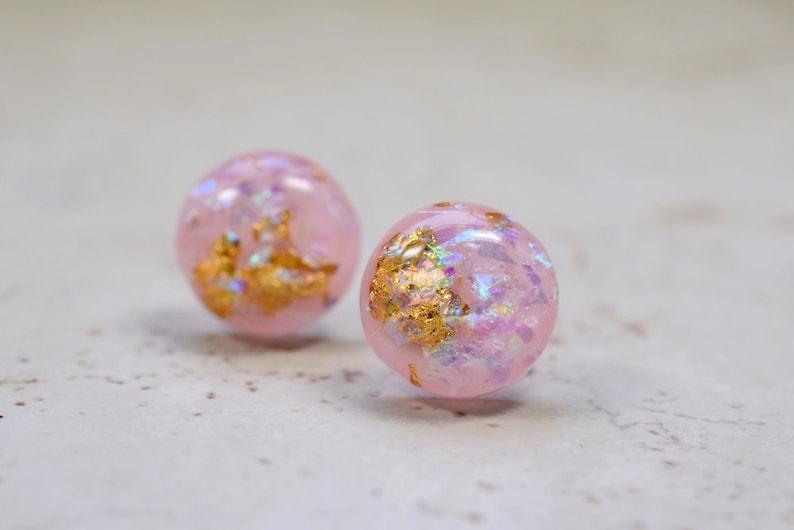 Pink Opal Earrings Gold Flake 12mm Studs Simple Minimal image 0