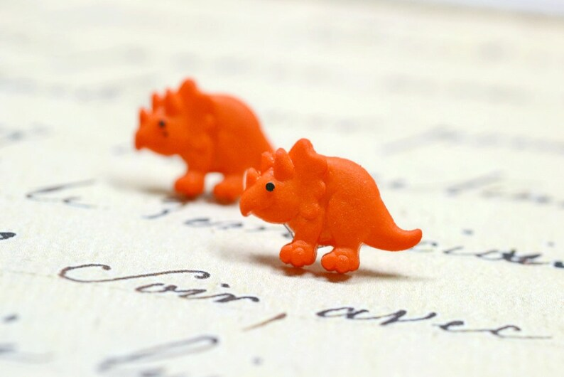 Orange Dinosaur Earrings Triceratops Cute Dino Jewelry Posts image 0