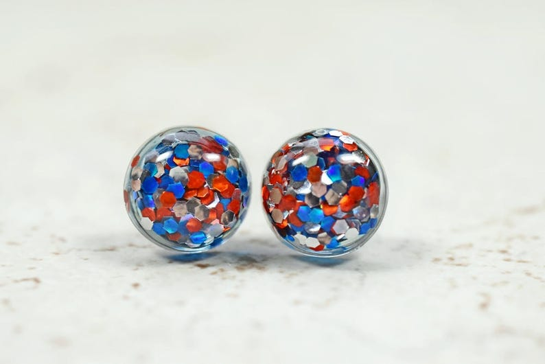 Glitter Earrings Red White and Blue Sparkly Metallic Party image 0