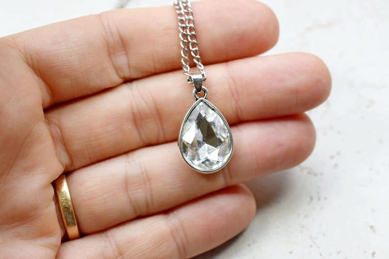 White Crystal Necklace White Rhinestone Teardrop Pendant image 0