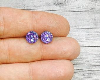 Tiny Purple Druzy Earrings, 8mm Round Druzy Earrings, Metallic Glitter Amethyst Purple Faux Drusy Posts Glittering Stainless Steel Studs