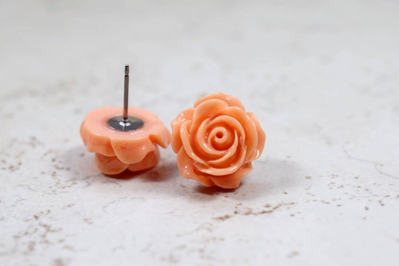 Chunky Coral Rose Earrings Cantaloupe Peach Studs Coral image 0