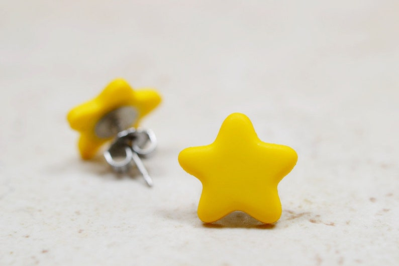 Yellow Star Earrings Bright Yellow Studs Constellation image 0