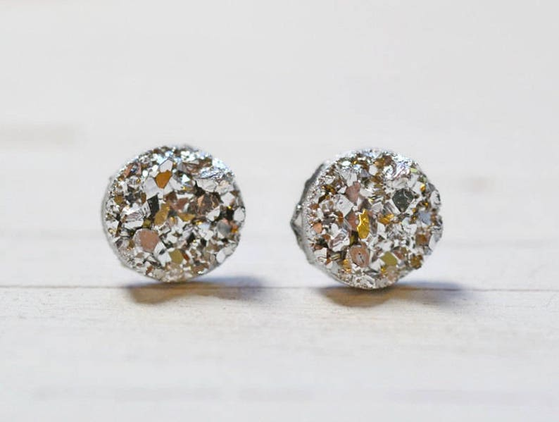 Tiny Silver Bridesmaids Earrings Metallic Silver Faux Druzy image 0