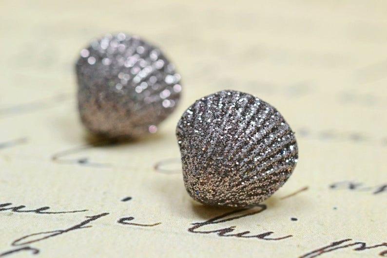 Mauve Seashell Earrings Gray Brown Glitter Shells Beach image 0
